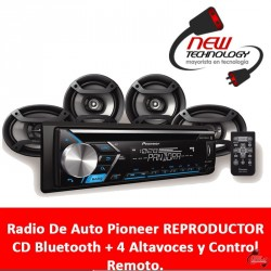Radio De Auto Pioneer Reproductor Cd Bluetooth + 4 Altavoces