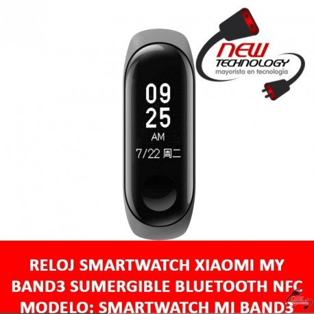 RELOJ SMARTWATCH XIAOMI MY BAND3 SUMERGIBLE BLUETOOTH NFC