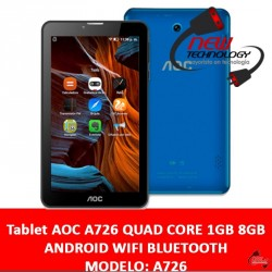Tablet AOC A726 QUAD CORE 1GB 8GB ANDROID WIFI BLUETOOTH