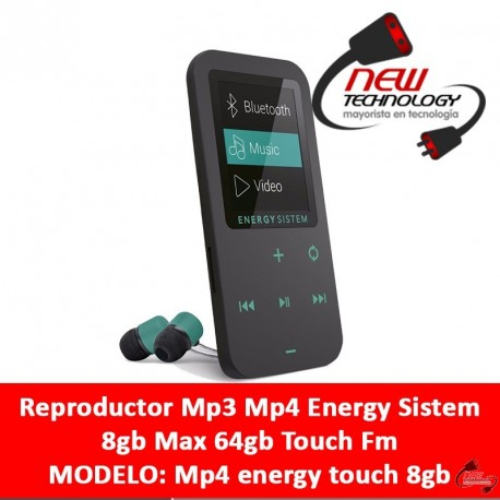 Reproductor Mp3 Mp4 Energy Sistem 8gb Max 64gb Touch Fm