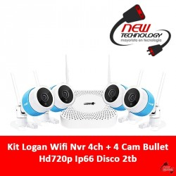 Kit Logan Wifi Nvr 4ch + 4 Cam Bullet Hd720p Ip66 Disco 2tb