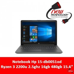 Notebook Hp 15-db0051od Ryzen 3 2200u 2.5ghz 16gb 480gb 15.6""