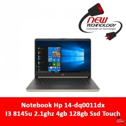Notebook Hp 14-dq0011dx I3 8145u 2.1ghz 4gb 128gb Ssd Touch