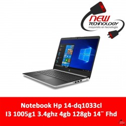 Notebook Hp 14-dq1033cl I3 1005g1 3.4ghz 4gb 128gb 14¨ Fhd