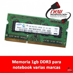Memoria 1gb DDR3 para notebook