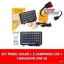 Set Panel Solar + 2 Lamparas Led + Cargador Usb